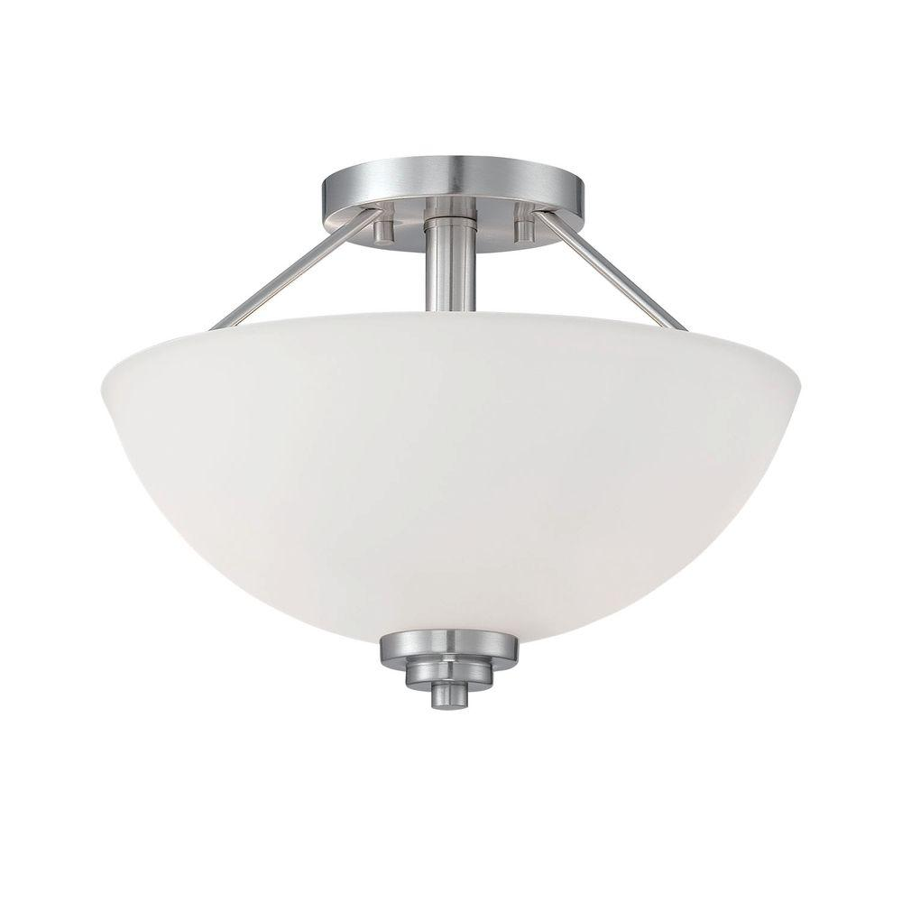 Millennium Lighting 2-Light Satin Nickel Semi Flush Mount with Etched White Glass