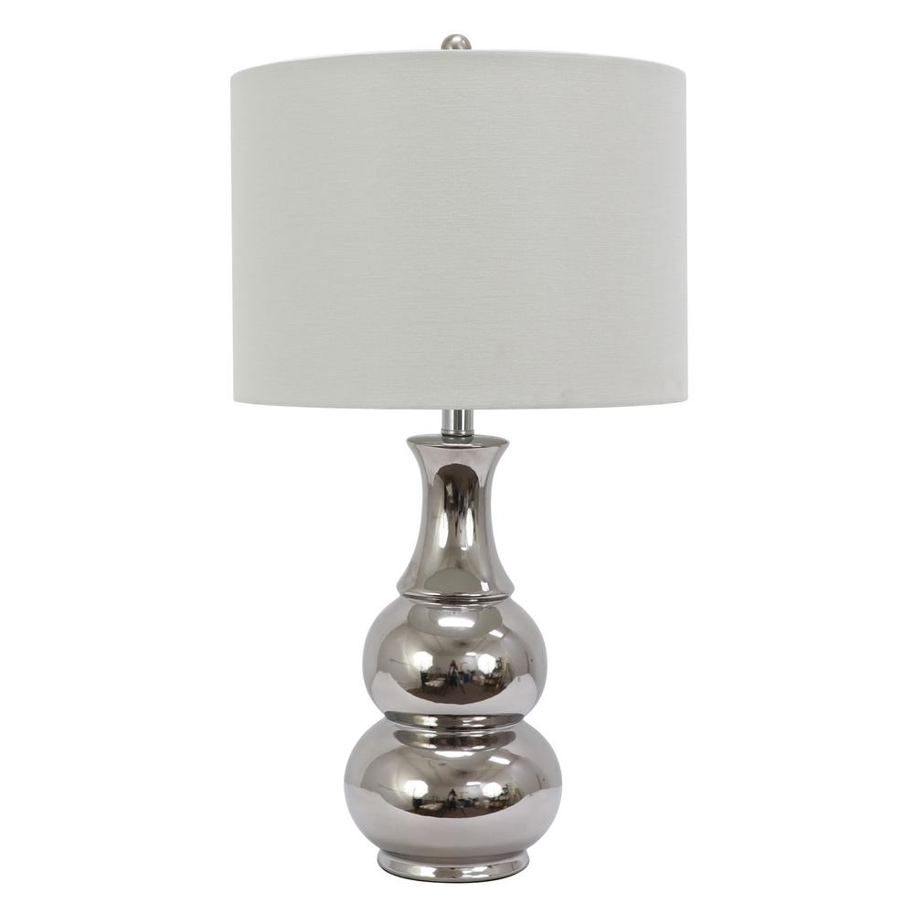 Crackle Ceramic 26.5 in. Plated Silver Table Lamp with Linen Shade