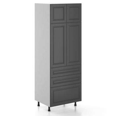 Buckingham Ready to Assemble 30 x 83.5 x 24.5 in. Pantry/Utility Cabinet in White Melamine and Door in Gray