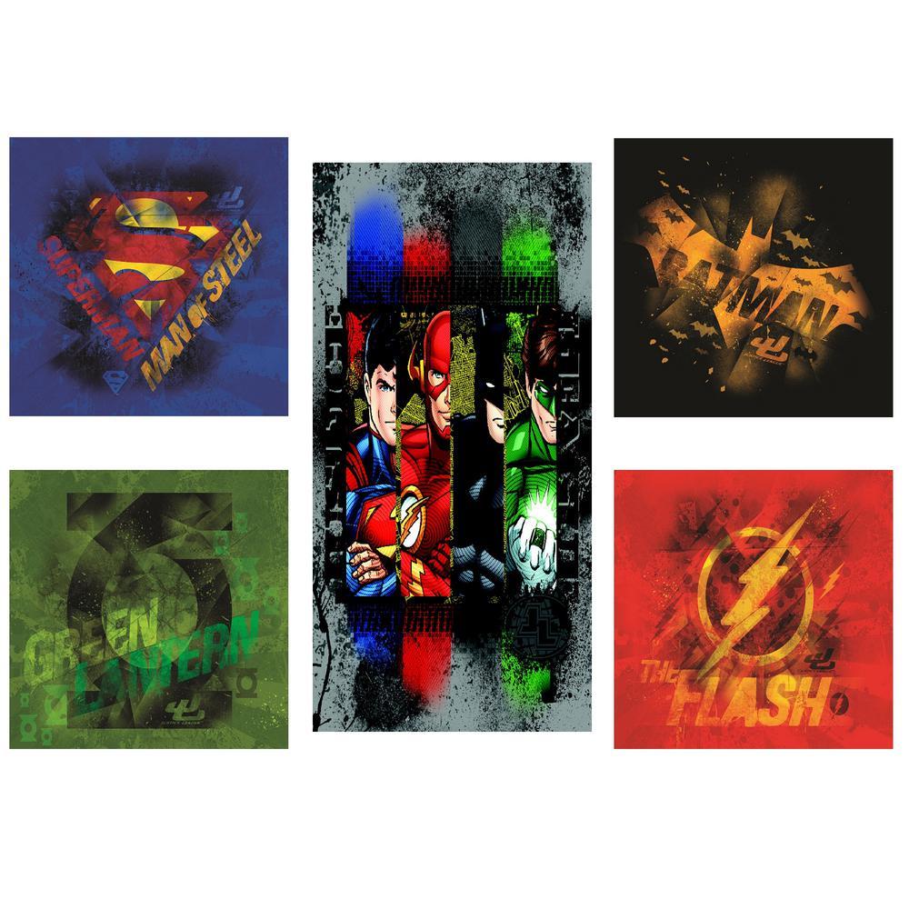 Justice League Wall Art Print (Set of 5)