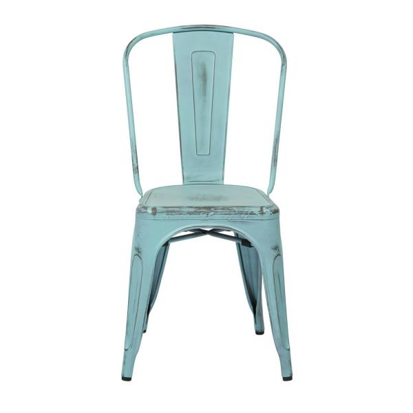 Office Star Products Bristow Antique Sky-Blue Armless Metal Chair (2-Pack)