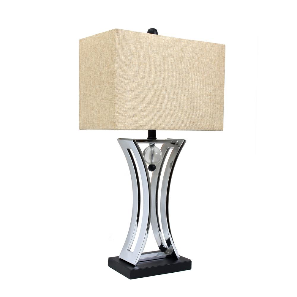 Elegant Designs Regency 28.25 in. Chrome and Black Conference Room Hourglass Shape Pendulum Table Lamp