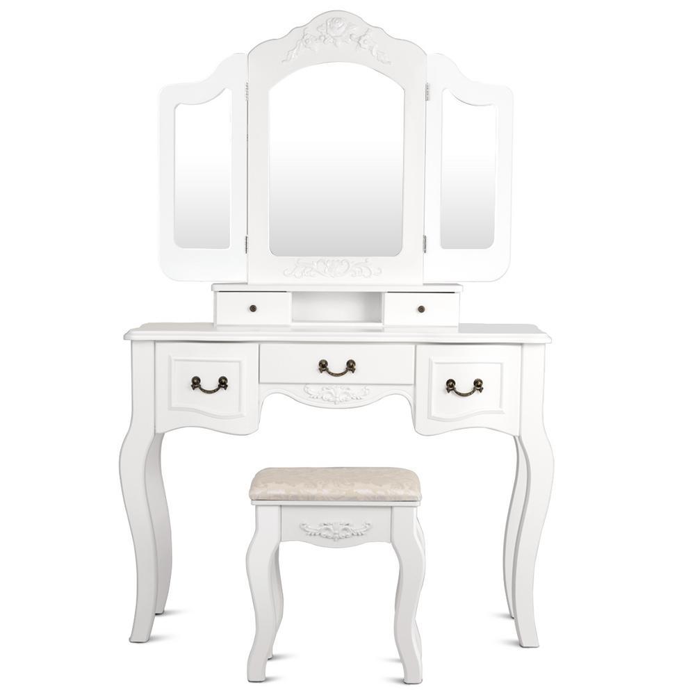 3-Piece White Living Room Set Tri Folding Vintage Vanity Makeup Dressing Table Set 5 Drawers Christmas