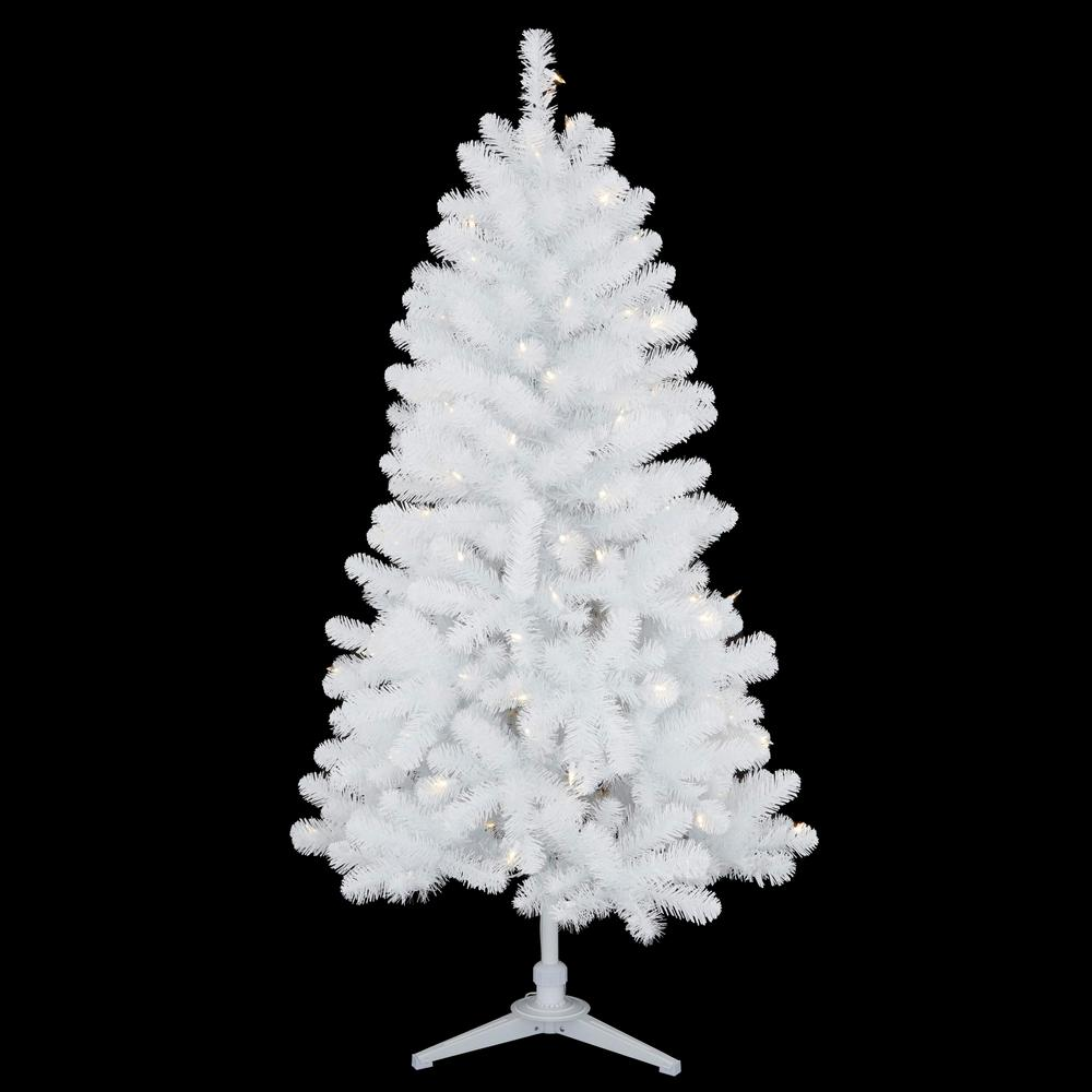 buy online 8dea7 28acc Home Accents Holiday 5 ft. Pre-Lit LED Glossy White North Hill Spruce  Artificial Christmas Tree with 120 Warm White Lights