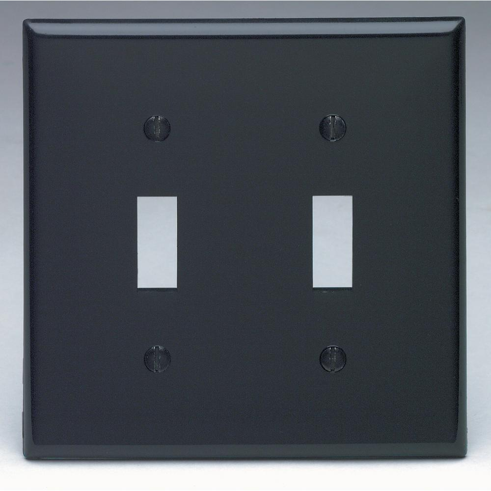 2-Gang 2-Toggle Standard Size Heavy Duty Nylon Wall Plate, Black