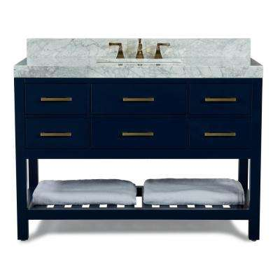 48 in. W x 22 in. D Bath Vanity in Heritage Blue w/ Marble Vanity Top in White w/ White Basin and Gold Hardware
