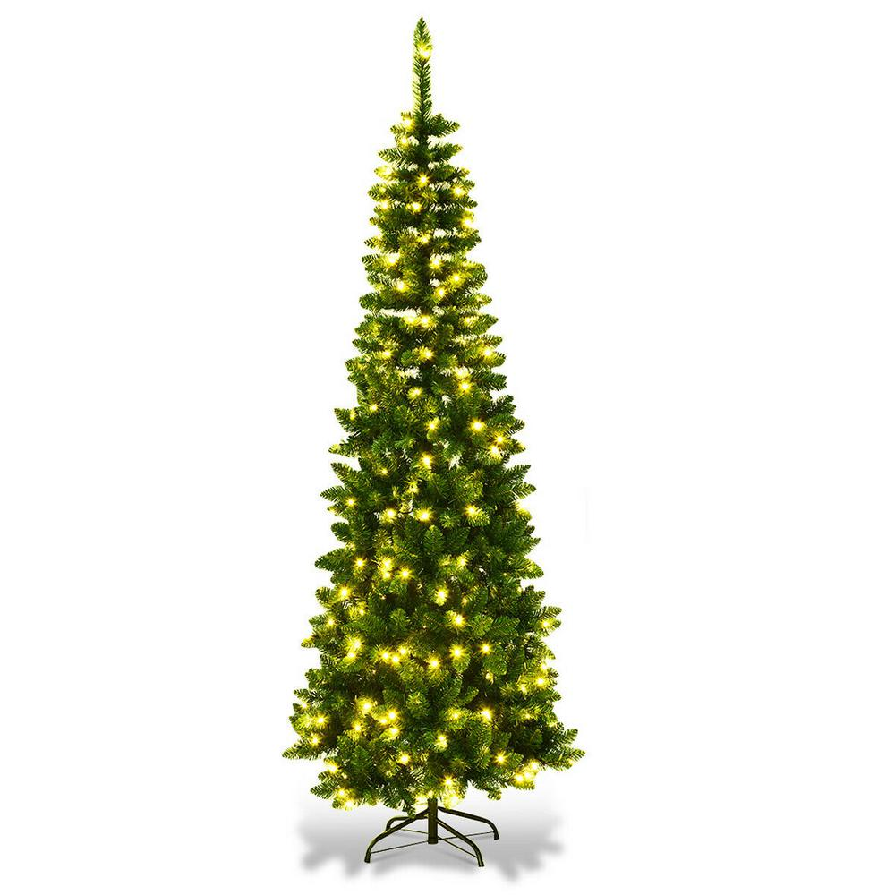 2 Ft White Christmas Tree: Costway 6.5 Ft. Pre-Lit Hinged Artificial Pencil Christmas