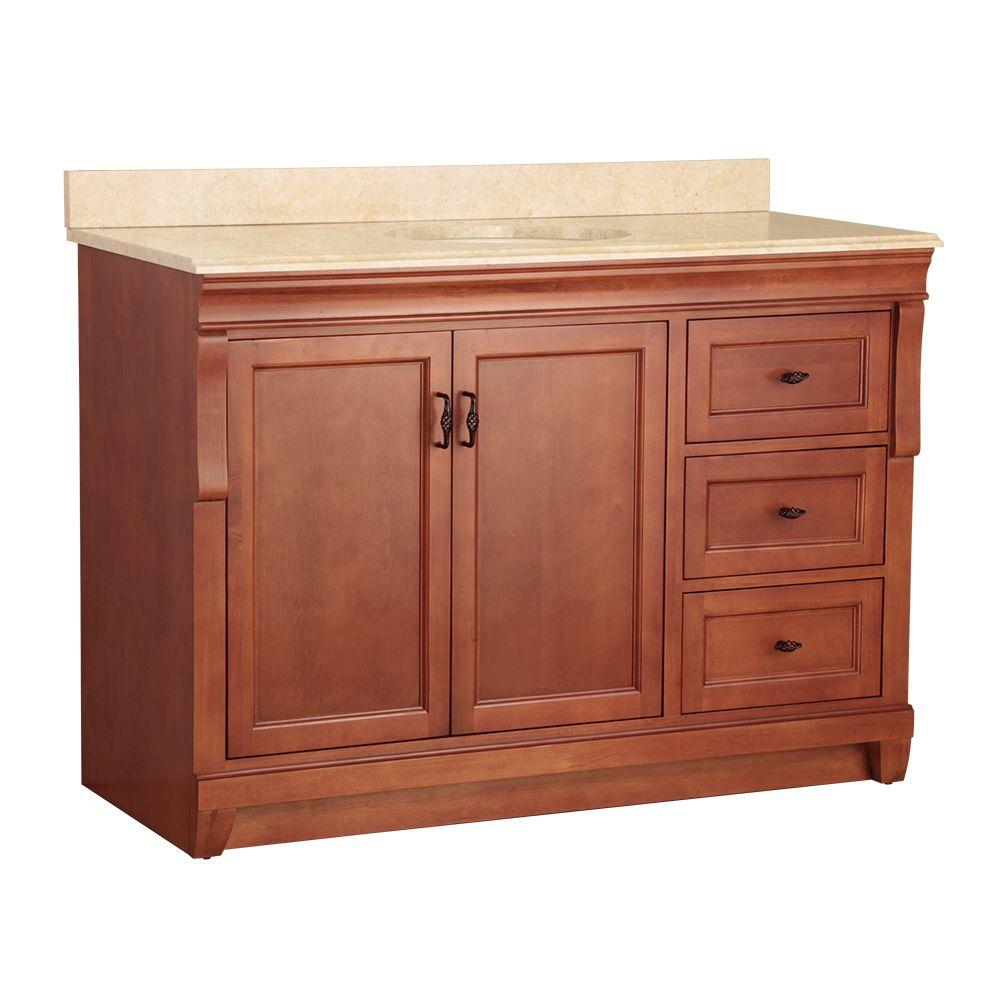 Foremost Naples 49 in. W x 22 in. D Vanity in in. Warm Cinnamon in. and Vanity Top with Stone effects in Oasis