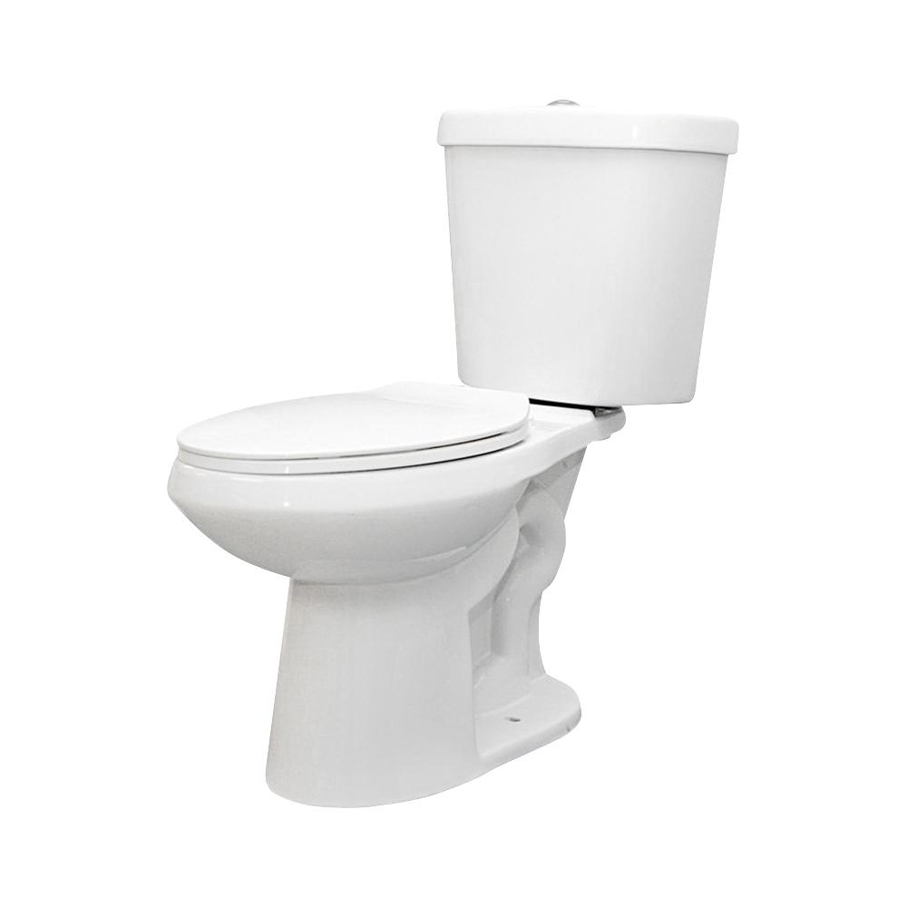 GLACIER BAY 2-piece 1.1 GPF/1.6 GPF Dual Flush Round Toilet in White