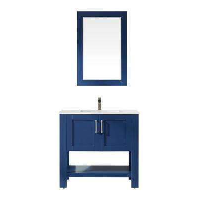Grayson 36 in. Bath Vanity in Blue with Manufactured Stone Vanity Top in White with White Basin and Mirror