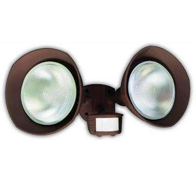 150-Watt 180-Degree Bronze Motion Activated Outdoor Dusk to Dawn Security Flood Light with Twin Head and Bulb Shields