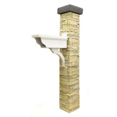 Decorative Newspaper Holder and Flat Cap with Beige Stacked Stone Mailbox Post