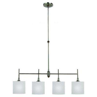Stirling 37 in. W 4-Light Brushed Nickel Island Pendant with Satin Etched Glass