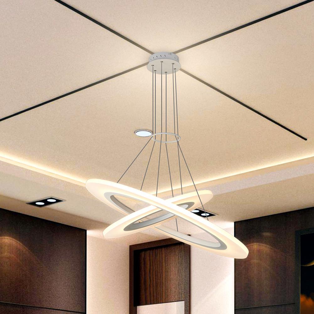 Tania Duo 37-Watt Silver Integrated LED Adjustable Modern 2-Tier Circular Chandelier 24 in.