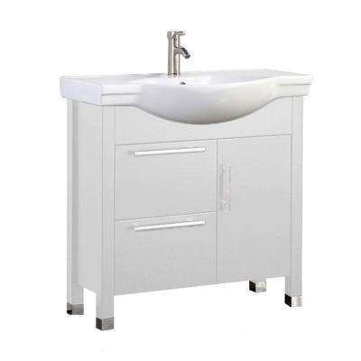 Pau 36 in. W x 18 in. D x 36 in. H Vanity in White with Ceramic Vanity Top in White with White Basin