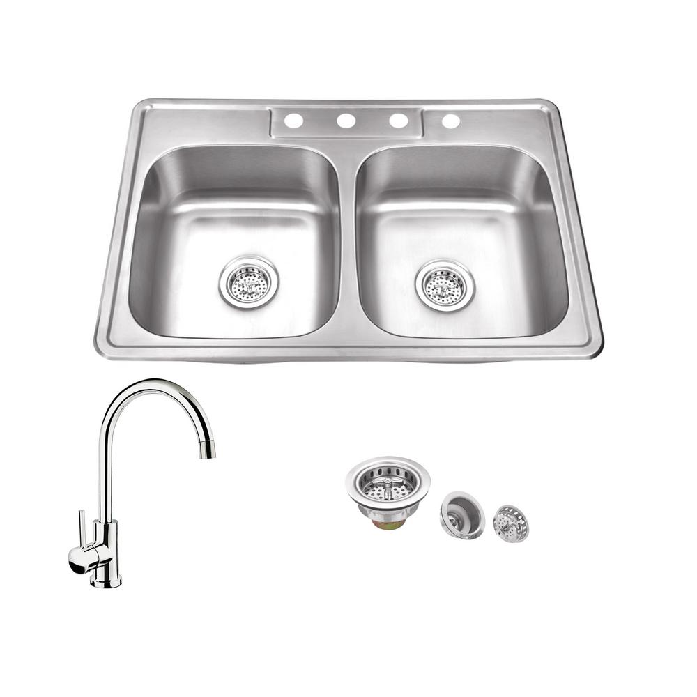 IPTSinkCompany IPT Sink Company All-in-One Drop In Stainless Steel 33 in. 4-Hole 50/50 Double Bowl Kitchen Sink with Polished Chrome Kitchen Faucet, Brushed Satin