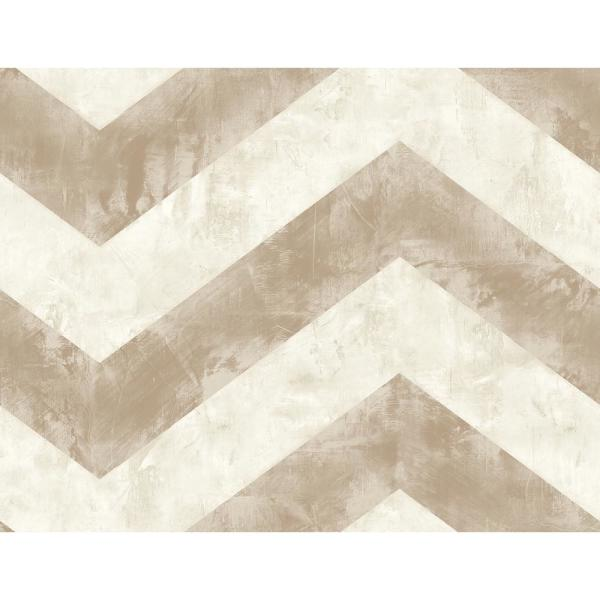 Hubble Metallic Taupe and Ivory Chevron Wallpaper