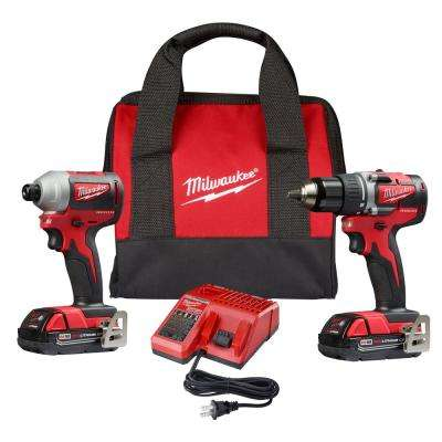 M18 18-Volt Lithium-Ion Brushless Cordless Compact Drill/Impact Combo Kit (2-Tool) with 2 2.0Ah Batteries, Charger Bag