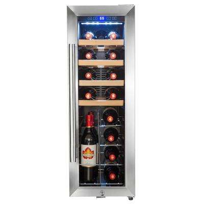 34.75 in. 20 Bottle Freestanding Compressor Wine Cooler in Stainless Steel with Touch Panel