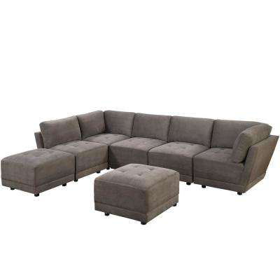 7-Piece Charcoal Waffle Suede Modular Sectional Set with Ottoman