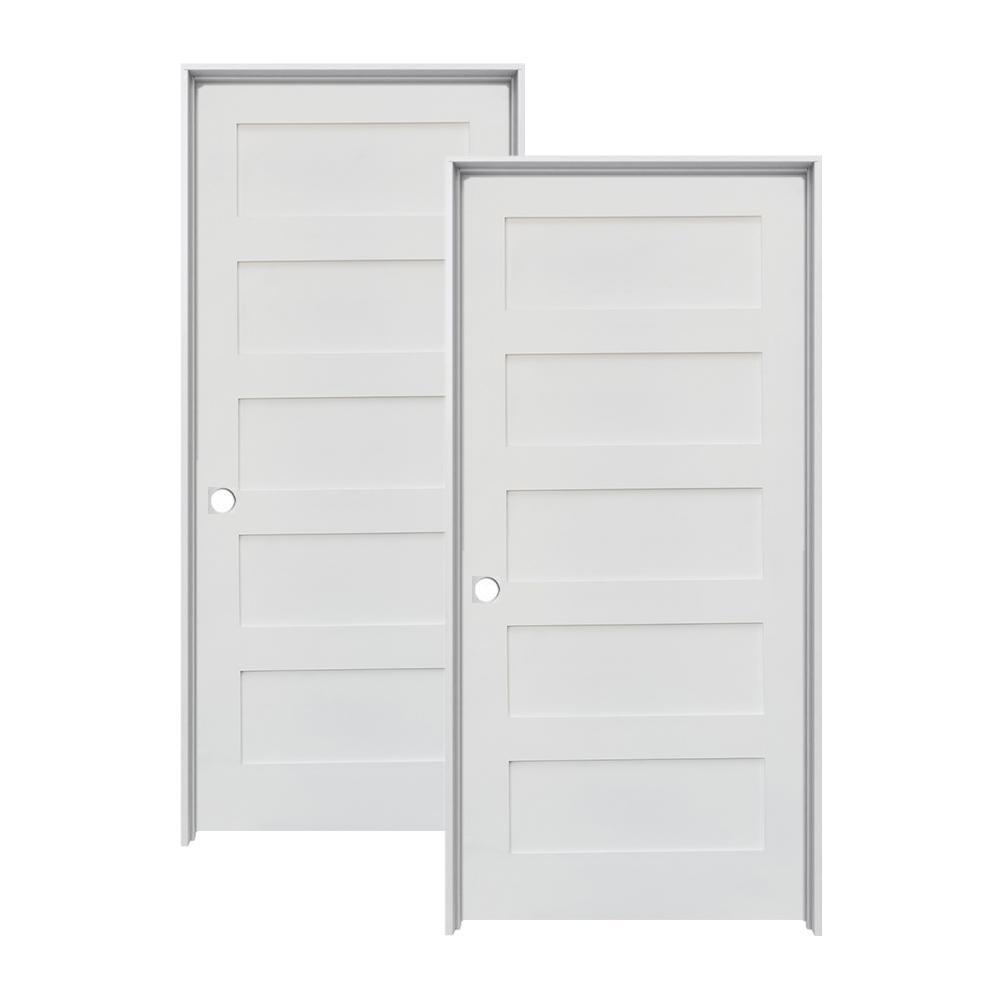 30 in. x 80 in. Shaker Primed MDF 5-Panel Left-Hand Solid Core Wood Single Prehung Interior Door (2-Pack)