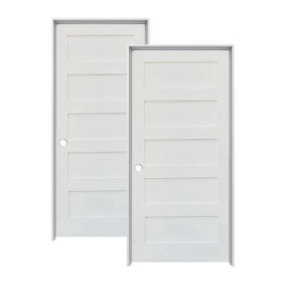 30 in. x 80 in. Shaker Primed MDF 5-Panel Right-Hand Solid Core Wood Single Prehung Interior Door (2-Pack)