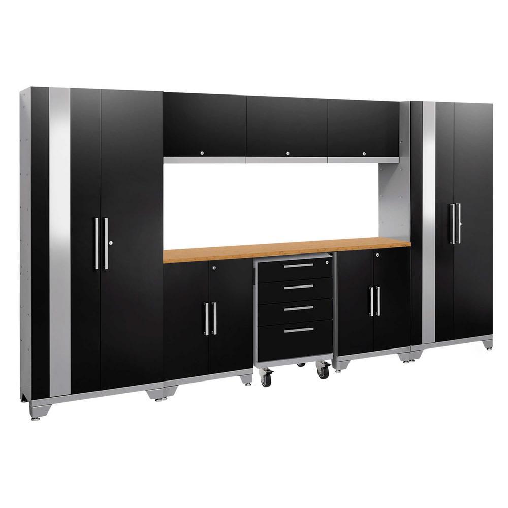Performance 2.0 77.25 in. H x 132 in. W x 18 in. D 24-Gauge Welded Steel Bamboo Worktop Cabinet Set in Black (9-Piece)