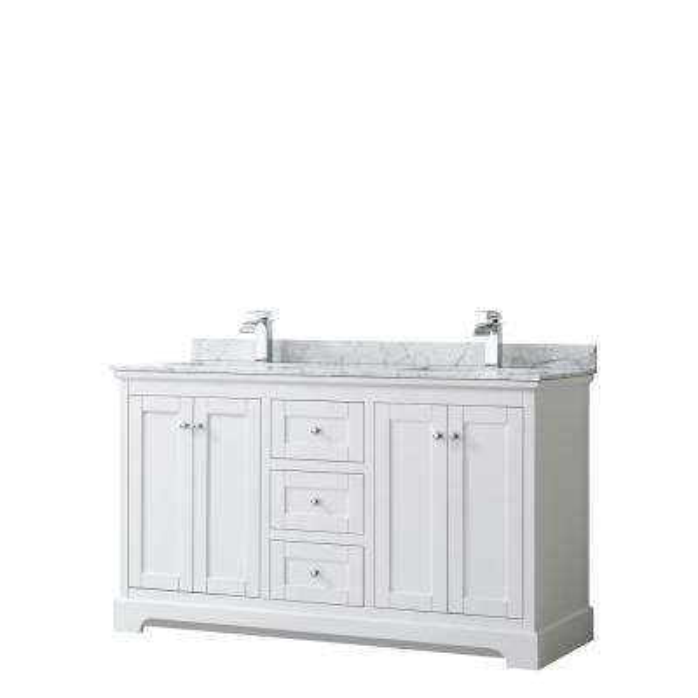 Avery 60 in. W x 22 in. D Bathroom Vanity in White with Marble Vanity Top in White Carrara with White Basins