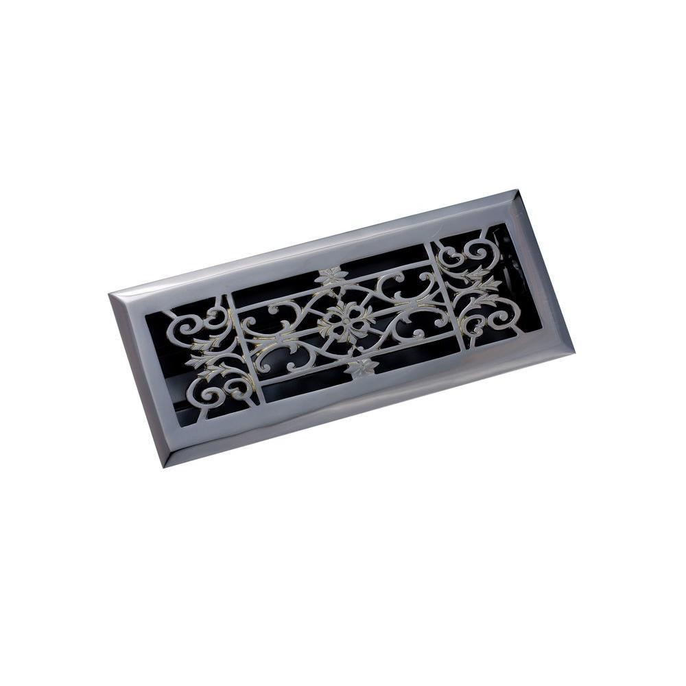 4 in. x 12 in. Decorative Floor Register, Antique Black