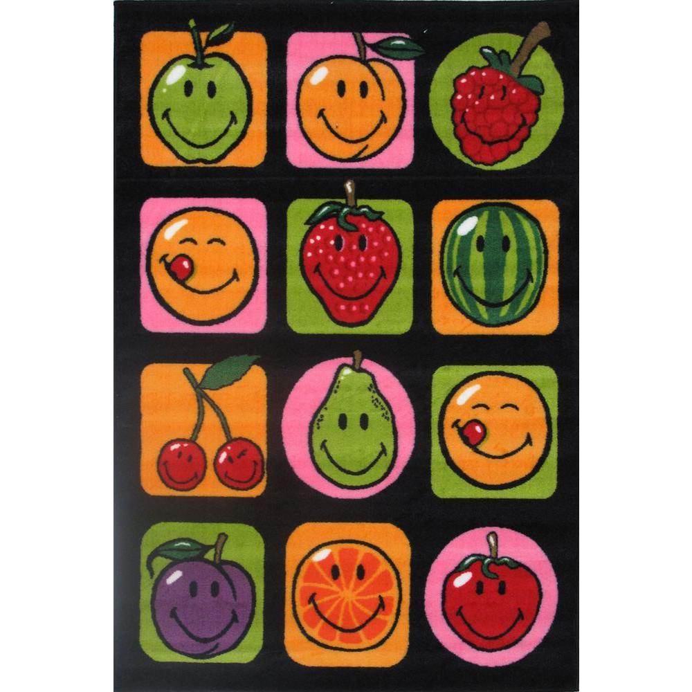 LA Rug Smiley Fruitti Multi Colored 19 inch x 19 inch Accent Rug by LA Rug