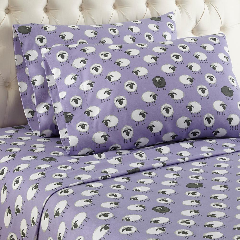 4-Piece Sheep Lavender King Sheet Set by