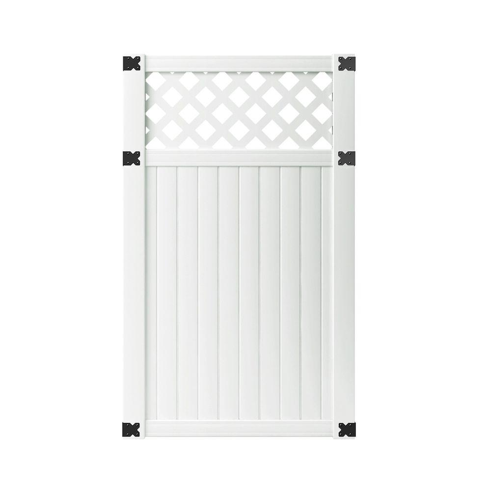 Veranda 3 1 2 Ft W X 6 Ft H White Vinyl Lewiston Lattice Top Fence