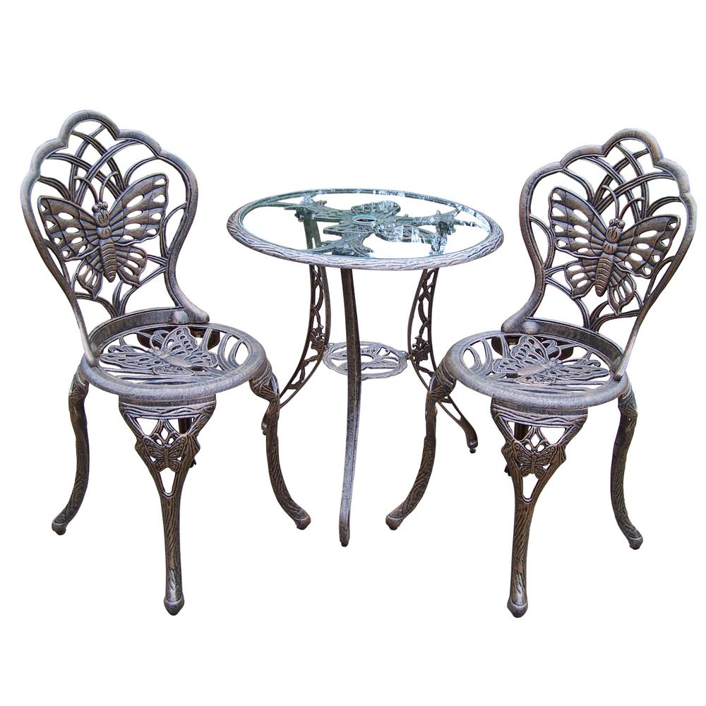Butterfly Antique Bronze 3 Piece Aluminum Outdoor Bistro Set Hd3601