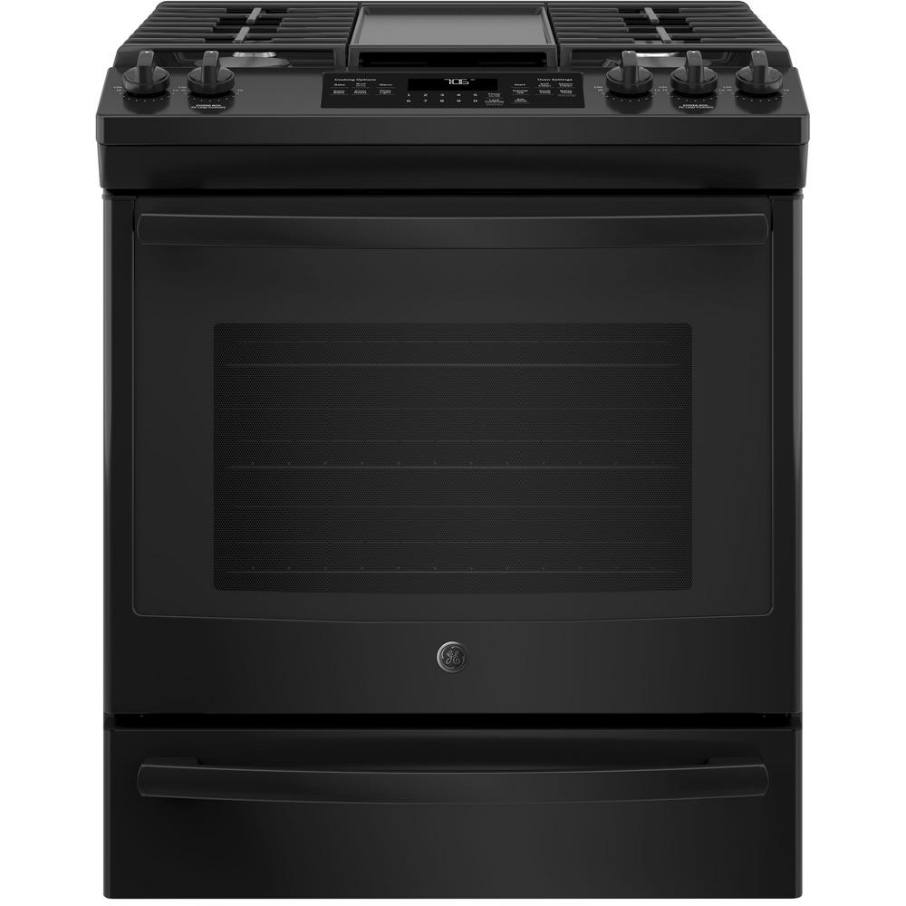 5.6 cu. ft. Slide-In Gas Range with Self-Cleaning Convection Oven in Black GE appliances provide up-to-date technology and exceptional quality to simplify the way you live. With a timeless appearance, this family of appliances is ideal for your family. And, coming from one of the most trusted names in America, you know that this entire selection of appliances is as advanced as it is practical. Color: Black.