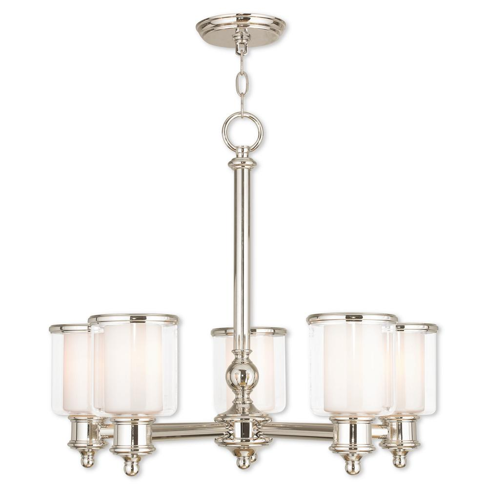 Middlebush 5-Light Polished Nickel Chandelier with Hand Crafted Clear and Satin