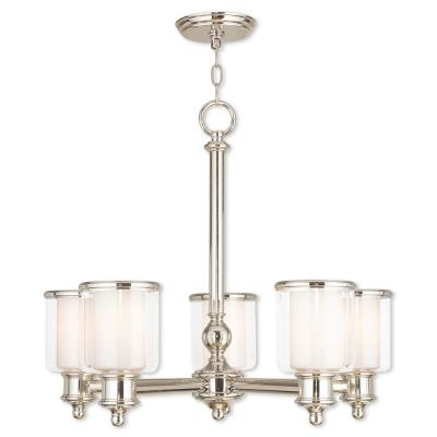 Middlebush 5-Light Polished Nickel Chandelier with Hand Crafted Clear and Satin Opal White Glass Shade