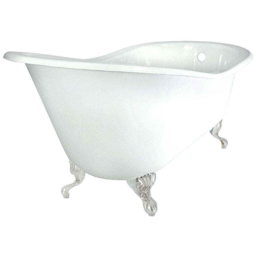 60 in. Slipper Cast Iron Tub Less Faucet Holes in White