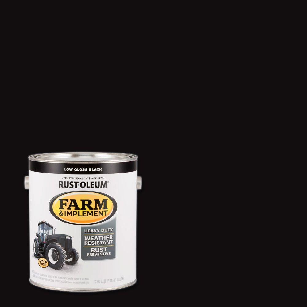 1 gal. Farm Equipment Low Gloss Black Enamel Paint (2-Pack)