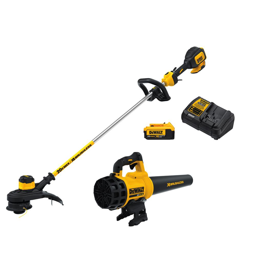 DEWALT 20-Volt MAX Lithium-Ion Cordless String Trimmer and Blower Combo Kit (2-Tool) w/ (1) 4.0Ah Battery and Charger