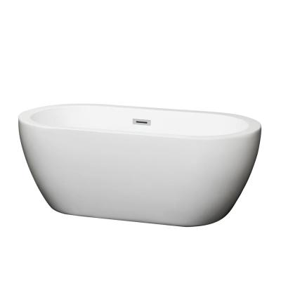 Soho 59.75 in. Acrylic Flatbottom Center Drain Soaking Tub in White