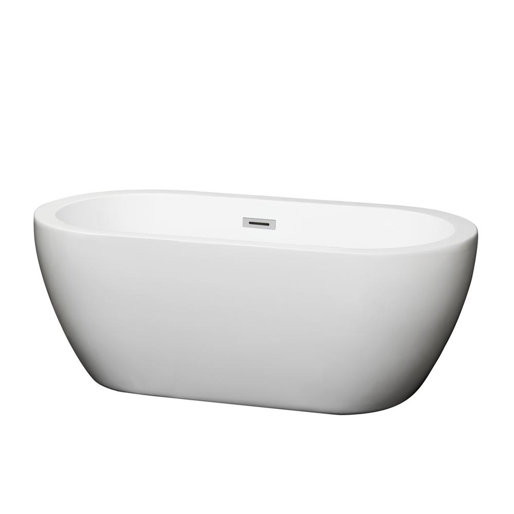 WyndhamCollection Wyndham Collection Soho 59.75 in. Acrylic Flatbottom Center Drain Soaking Tub in White
