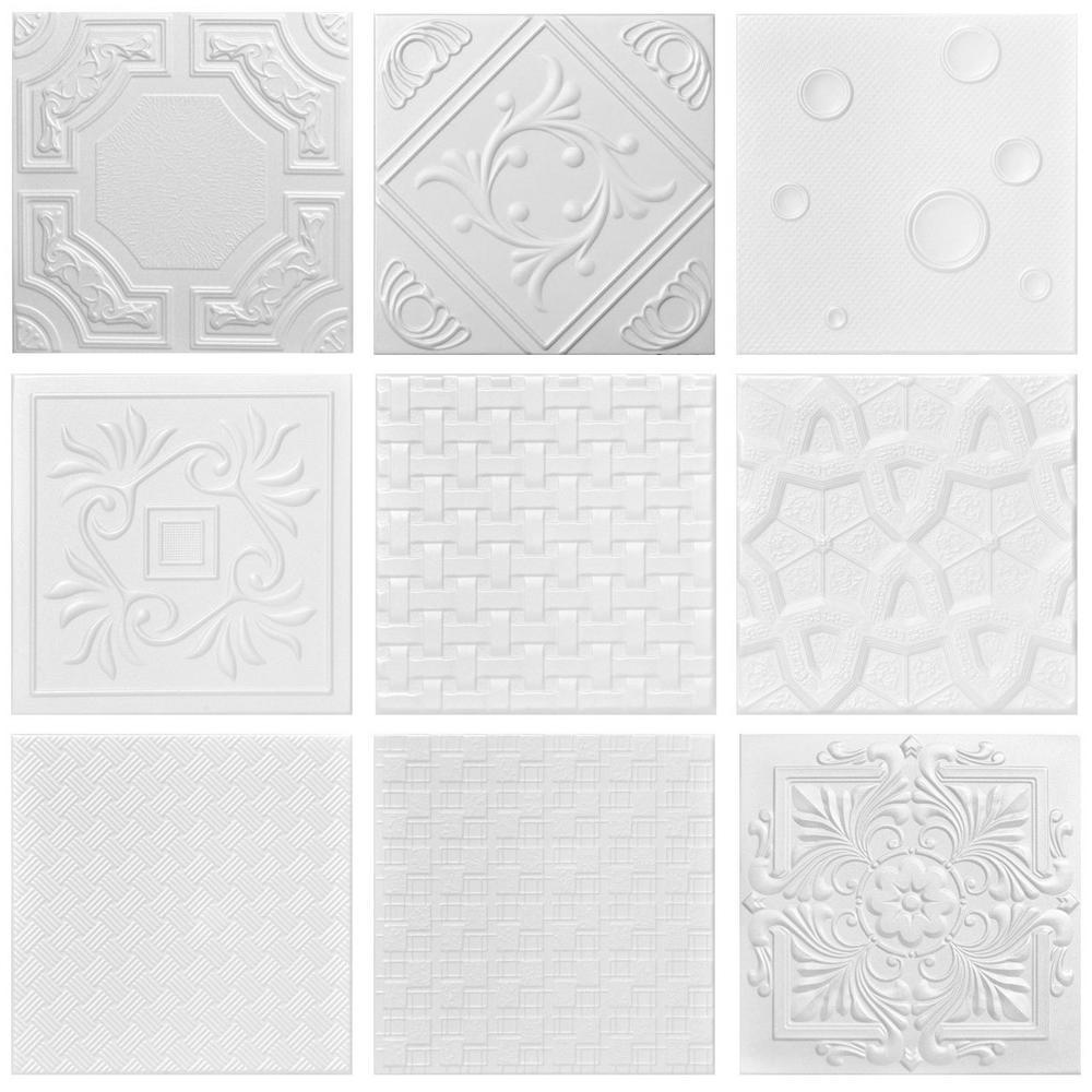3 Full Random Samples 1.6 ft. x 1.6 ft. Glue-up Foam Ceiling Tile in Plain White
