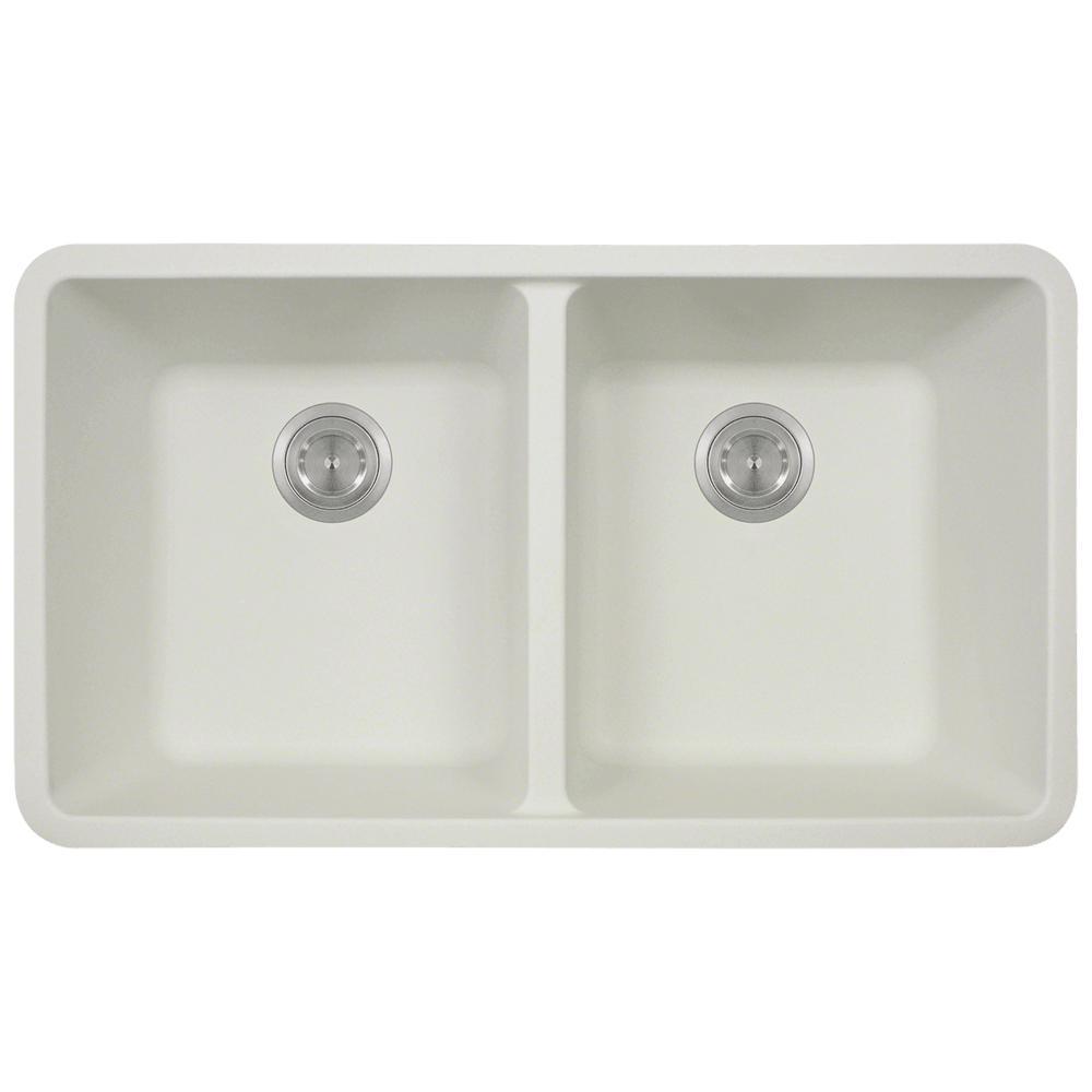 Undermount Quartz 32.5 in. 0-Hole Double Bowl Kitchen Sink in White