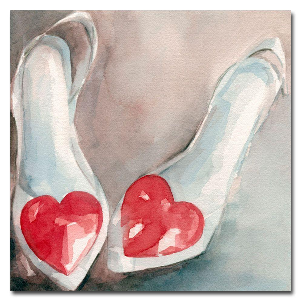 Trademark Fine Art 24 in. x 24 in. Shoes with Hearts Canvas Art-DISCONTINUED