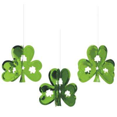 9 in. x 5 in. St. Patrick's Day Green Foil Shamrock 3D Mini Hanging Decorations (8-Count, 3-Pack)