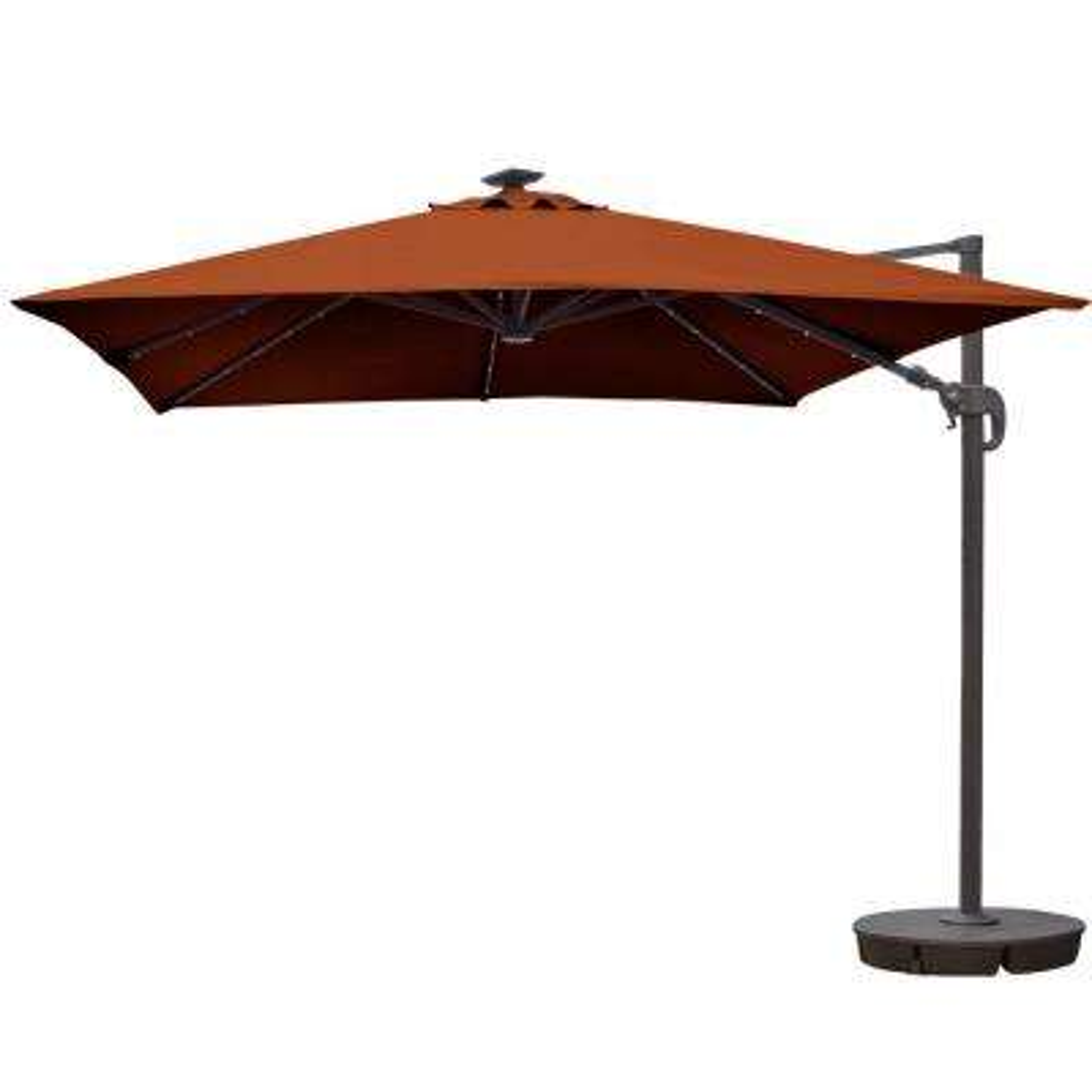 Santorini II Fiesta 10 ft. Square Cantilever Solar Patio Umbrella in Terra Cotta Sunbrella Acrylic