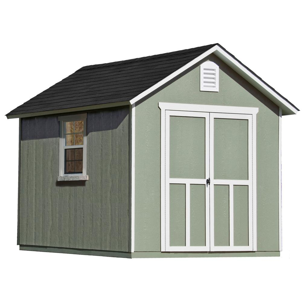 Handy Home Products Installed Meridian 8 ft. x 10 ft. Wood Storage Shed with Black Onyx Shingles