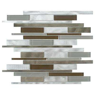 Fusion Linear Lorraine 11-7/8 in. x 12-1/8 in. x 6 mm Brushed Aluminum and Glass Mosaic Tile