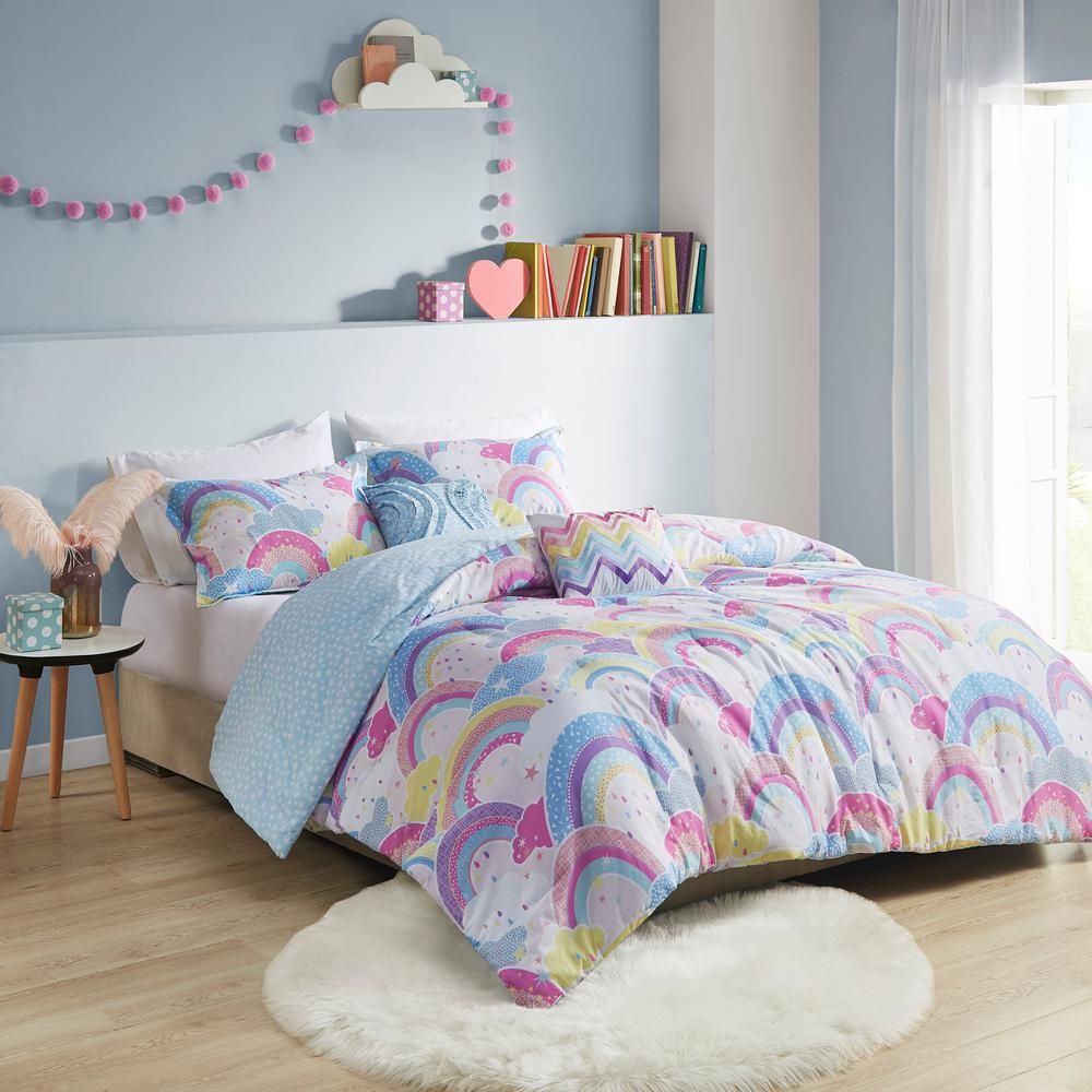 Lucy 5 Piece Multi Full Queen Printed Rainbow Cotton Reversible Comforter Set Uhk10 0141 The Home Depot