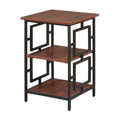 Town Square Cherry and Black Metal End Table